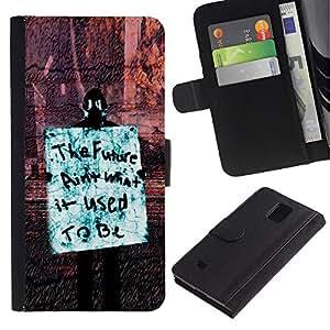 KingStore / Leather Etui en cuir / Samsung Galaxy Note 4 IV / Futuro Libertad Occupy Derechos de la revolución de sesión