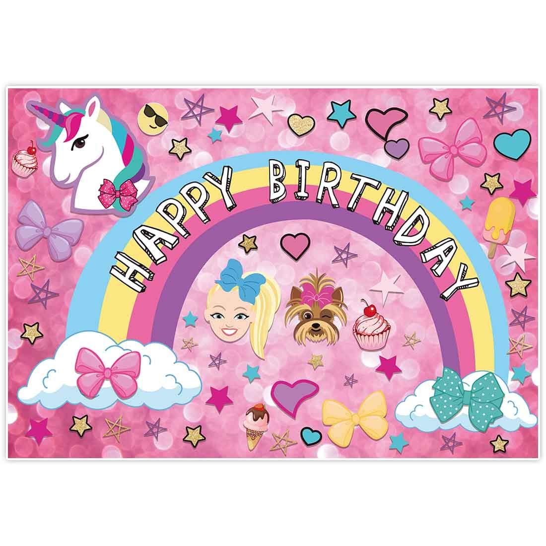 Allenjoy 7x5ft Colorful Cartoon Backdrop for Sweet 16 Happy 18 Dream Crazy Big Theme Bokeh Photography Background Birthday Party Banner Unicorn Puppy Girl Glitter Rainbow Baby Shower Photo Booth Decor by Allenjoy