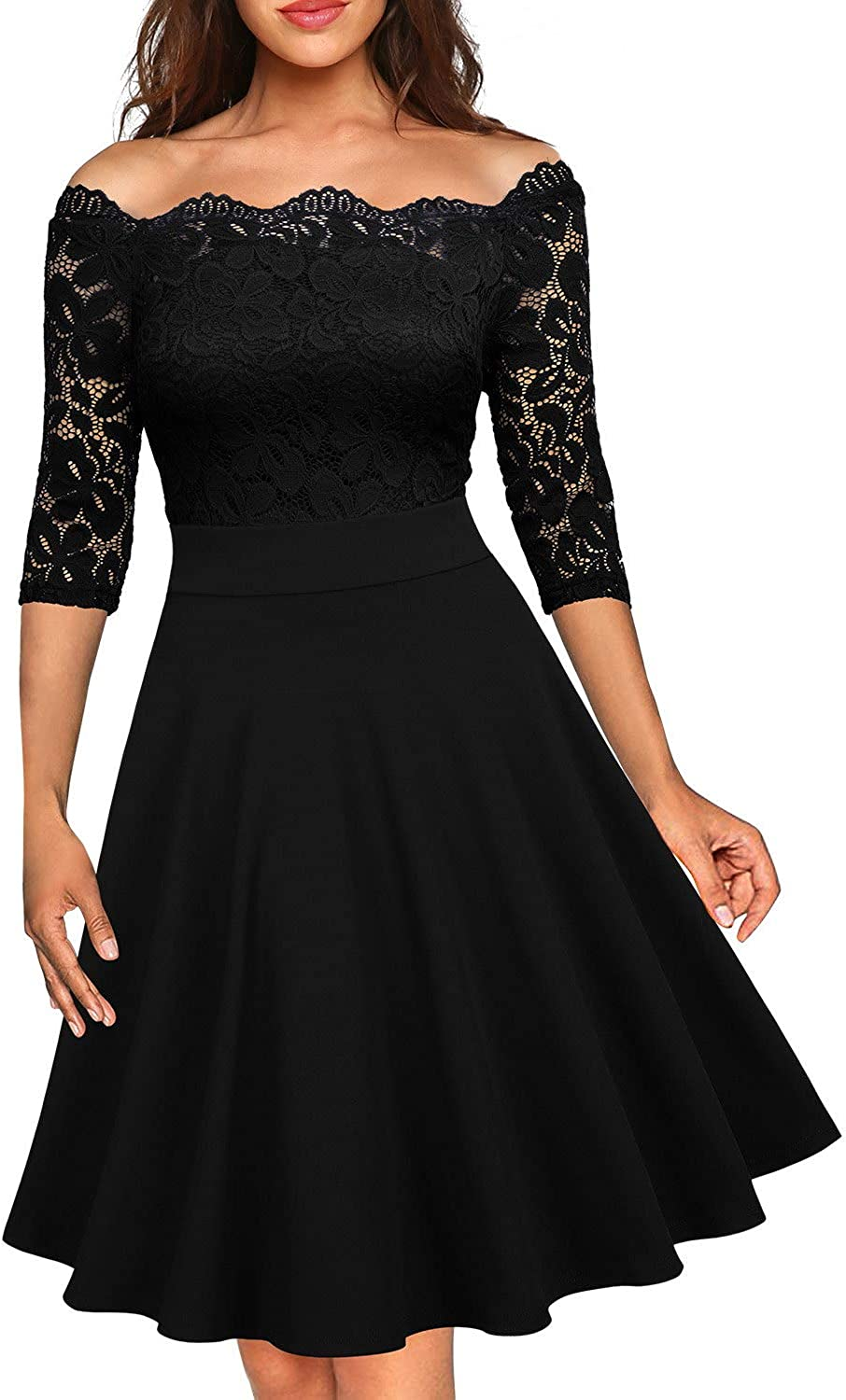 MISSMAY Women's Vintage Floral Lace Half Sleeve Boat Neck Formal Swing Dress