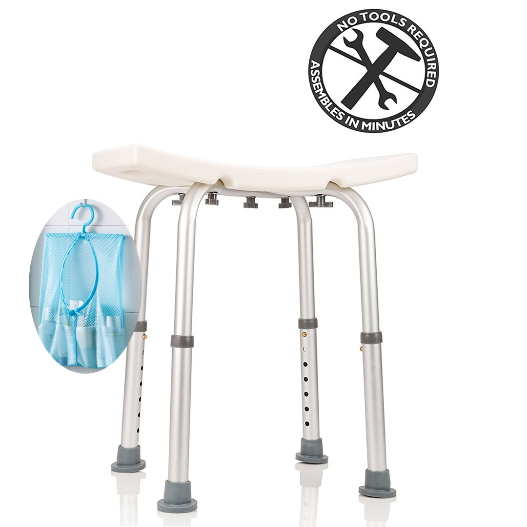 Ampai Shower Chair, Shower Chair Bath Stool with Tote Bag and Shower Head Holder, Shower Seats for Elderly, Disabled, 7 Height Adjustable Setting, Tool-Free Assembly
