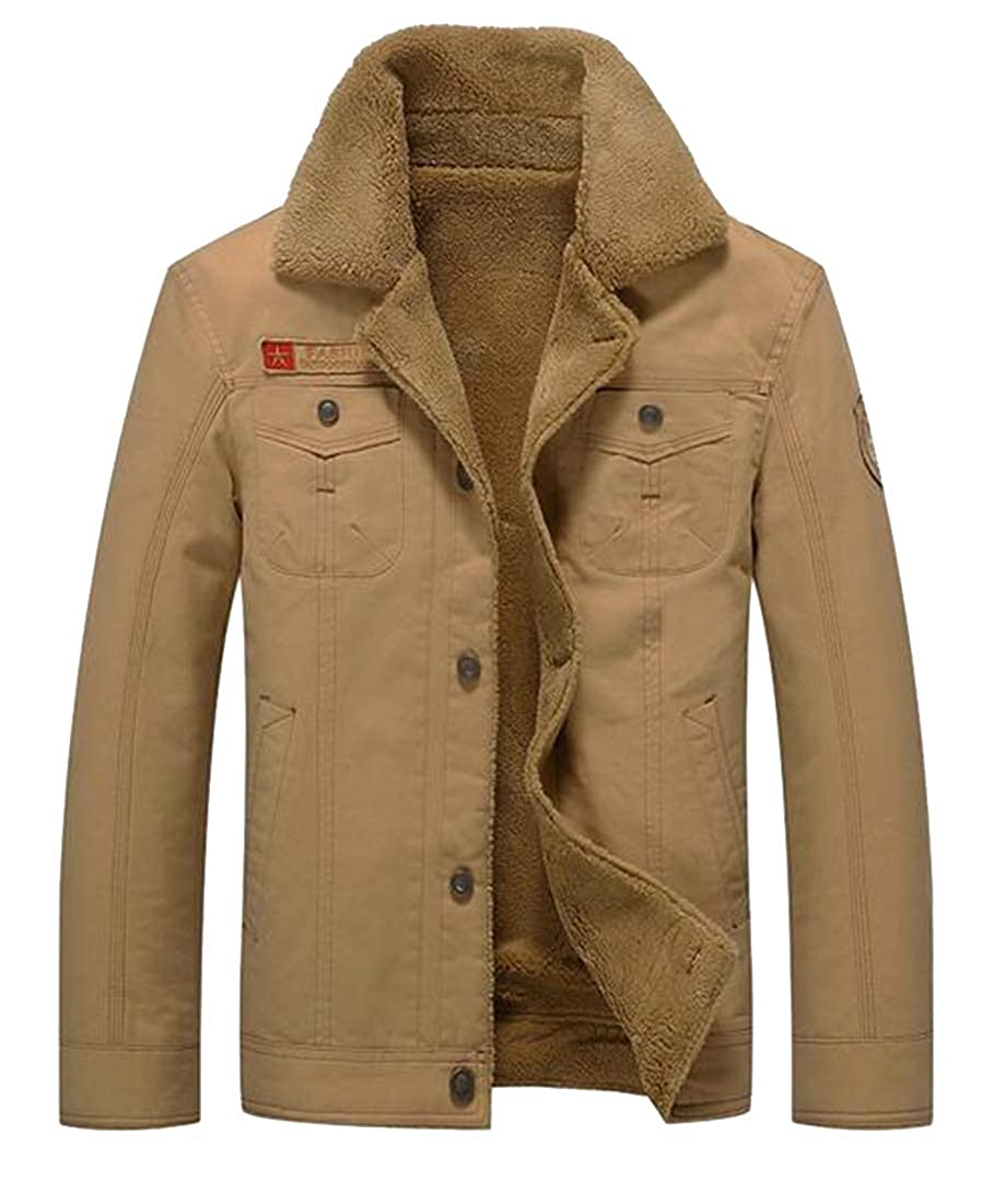 Khaki XTX Men's Fall Winter Thicker Sherpa Lined Plain Denim Jacket Coat Outwear
