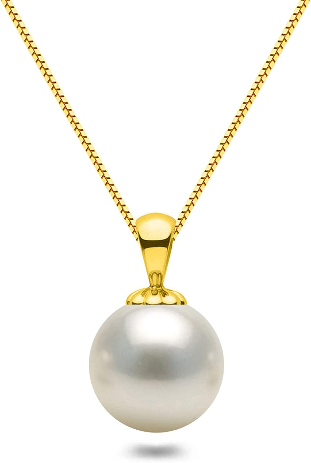 Orien Jewelry White Japanese AAAA 6-10mm Akoya Cultured Pearl Pendant Necklace 16//18 Solitaire Necklace Pendant