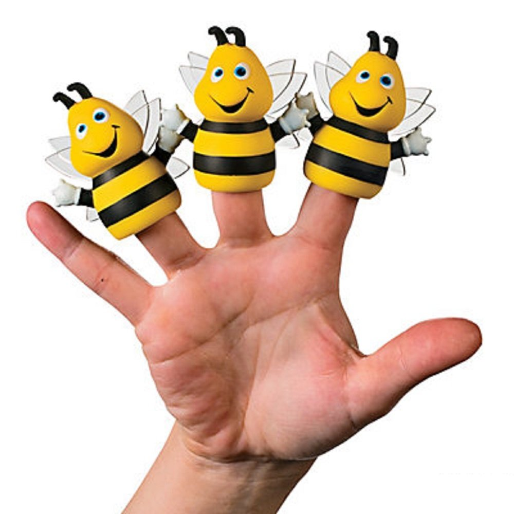 "3 - Bumble Bee Finger Puppets - Vinyl - Approx. 2.25"" - New"
