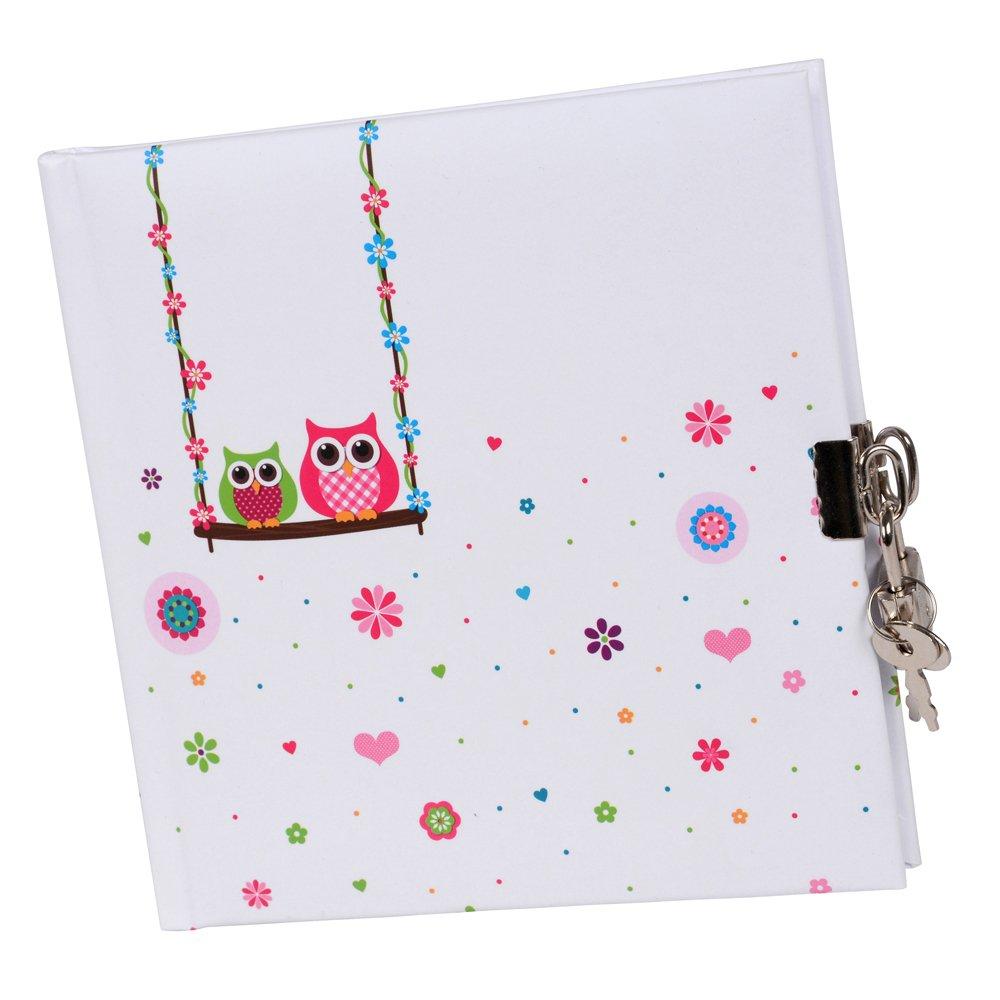 Goldbuch 44043 - Tagebuch, Eule, 96 weiße Seiten, 16,5 x 16,5 cm, Schloss mit 2 Schlüsseln, Laminierter Kunstdruck, farblich sortiert 96 weiße Seiten