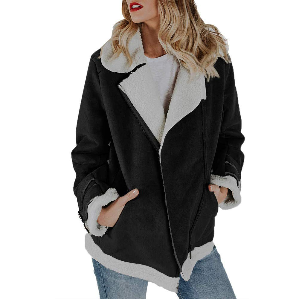 Women Faux Suede Zipper Up Warm Jacket, Ladies Winter Coat Vintage Outwear with Pockets Casual Overcoat Black