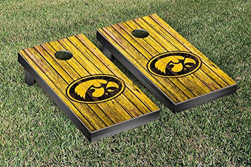 NCAA Iowa Hawkeyes Weathered Version Cornhole Game Set by Victory Tailgate