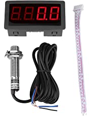 4 Digital LED Display Tachometer RPM Speed Meter Panel Inductive Hall Effect Sensor NPN Proximity Switch Red/Blue(Red)