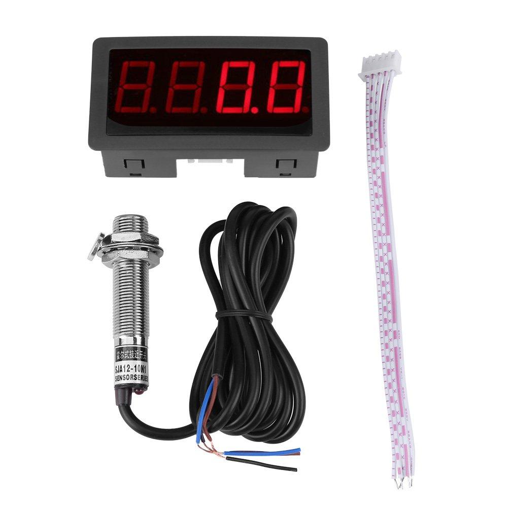 Tachymètre d'Affichage Numérique 4 à LED Panneau de Compteur de Vitesse RPM Capteur NPN d'Effet Interrupteur Proximité Rouge /Bleu (Bleu) Walfront RLSB5262