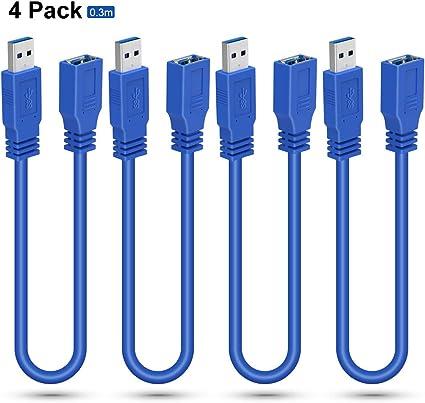Cable de extensión USB ELUTENG Cable de extensión USB 3.0 de 30 cm SuperSpeed 5Gbps USB Tipo de extensión macho a hembra Compatible con impresora, disco duro, PS ...