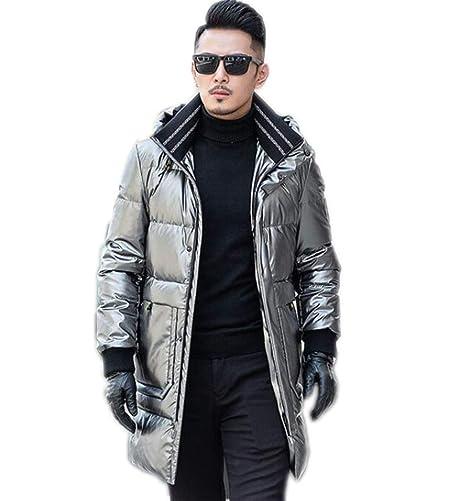 PFSYR Lungo Inverno Giù Luminoso Cappotto Piumino Moda Uomo