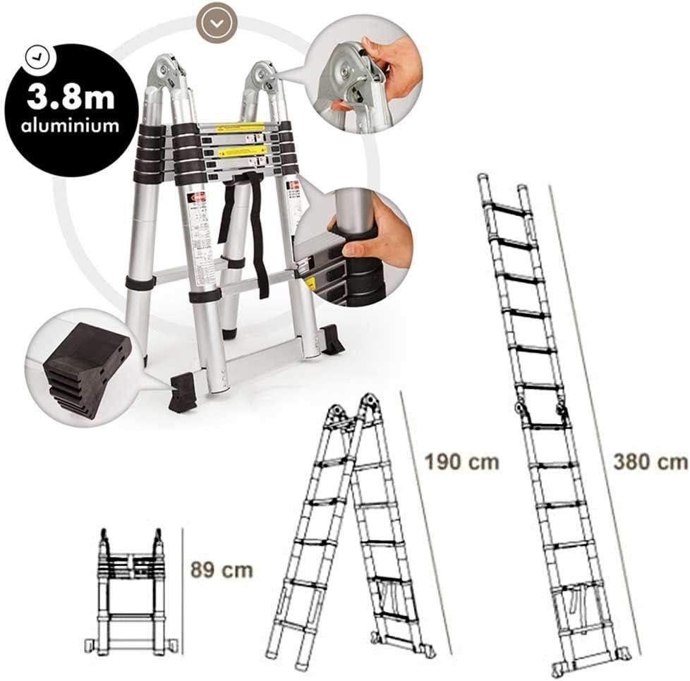 3,2m Mehrzweckleiter Schiebeleitern Teleskopleiter Hochwertiges Aluminium Ausziehbare Klappleiter Anti-Rutsch f/ür Hochklettern//B/üro//Loft Haushaltsleiter 150kg Belastbarkeit