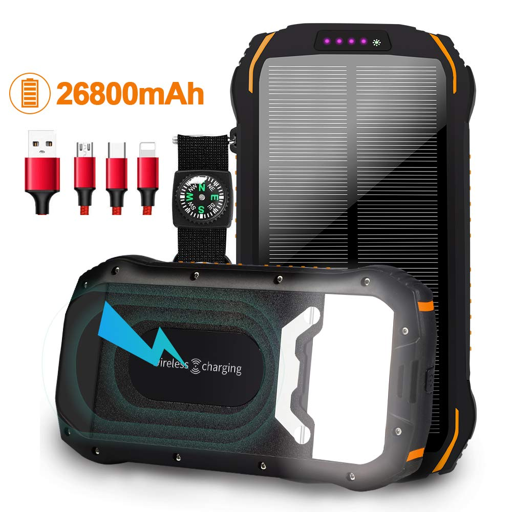 soyond Solar Charger Solar Power Bank 26800mAh Wireless Qi Portable Charger Dual USB Solar Phone Charger, High Capacity Backup Battery Power Bank for Outdoor Camping Emergency (Black) by soyond