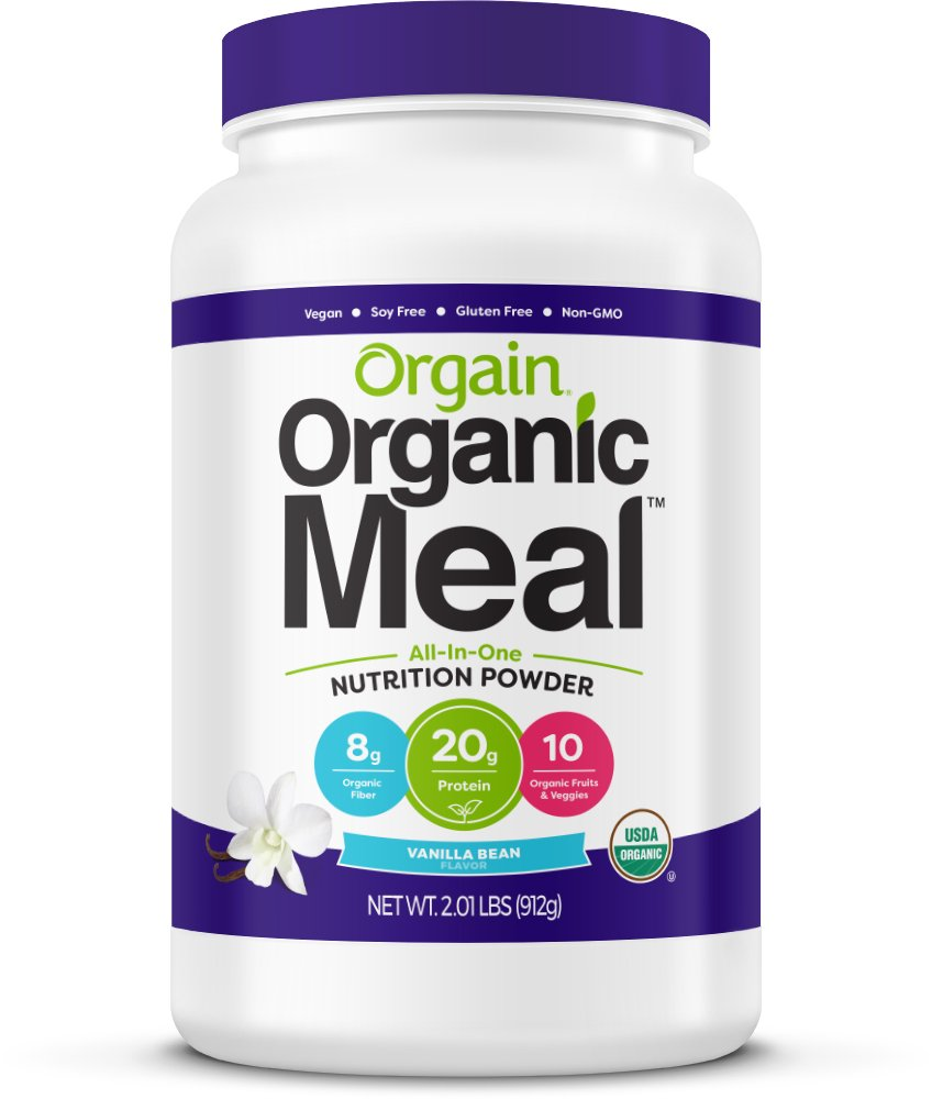 Orgain Organic Plant Based Meal Replacement Powder, Vanilla Bean, Vegan, Gluten Free, Non-GMO, 2.01 Pound, 1 Count, Packaging May Vary