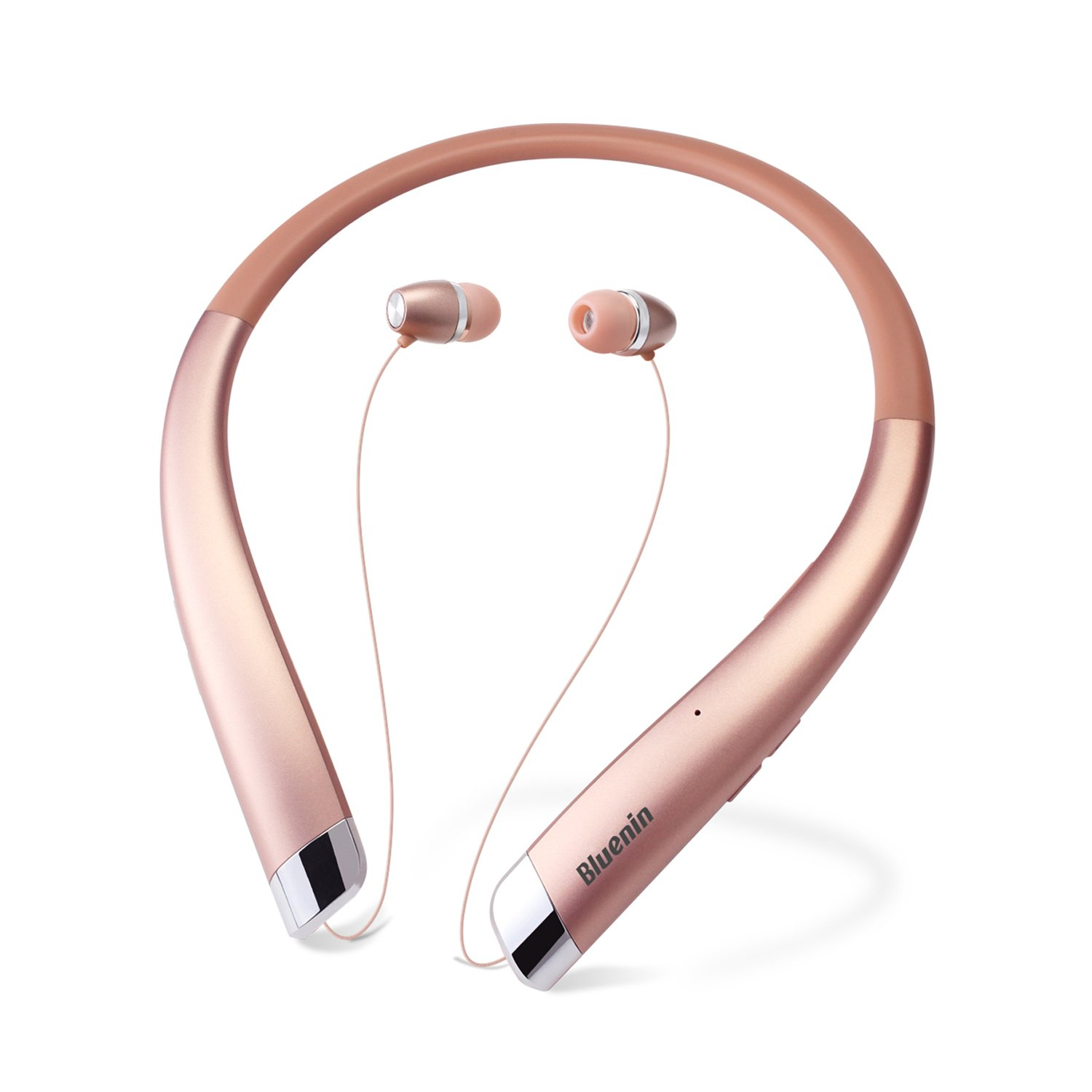 Wireless Earbuds Retractable Stereo Neckband Headphones with Mic/ by Mikicat Bluetooth Headset 12 Hours Play Time, Noise Canceling, Rose Gold