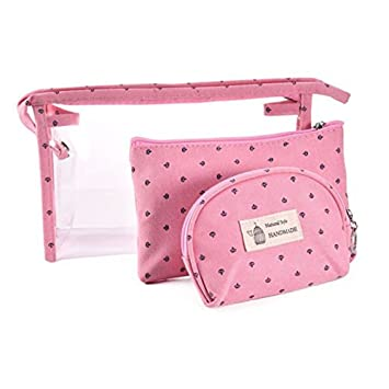 5ea646dde531 Portable Cosmetic Bags Set of 3 Different Sizes Makeup and Toiletry Pouch  Purse Bag for Travel or Daily Use (Pink)