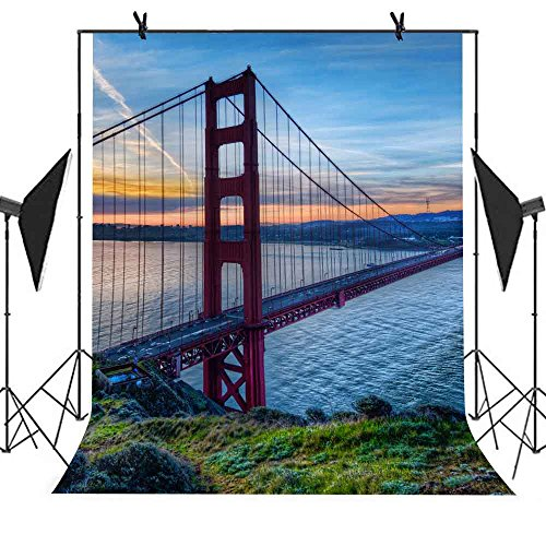 Meets 5X7ft City Landmark Building Backdrop San Francisco Golden Gate Bridge Background Photo Booth Studio Props Youtube Backdrop Mt417