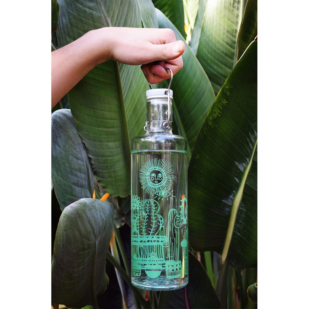 Botella de cristal Soulbottle, varios diseños, fabricada en Alemania, producto vegano, sin plástico, 1,0 l, Cactuspower, 1,0 l: Amazon.es: Hogar