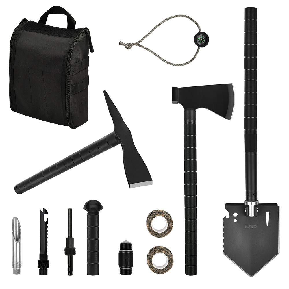 IUNIO Survival Off-Roading Tool Kit Folding Shovel Camping Axe Multitool Pickaxe with Carrying Bag for Outdoor Car Emergency (Upgrade Black)