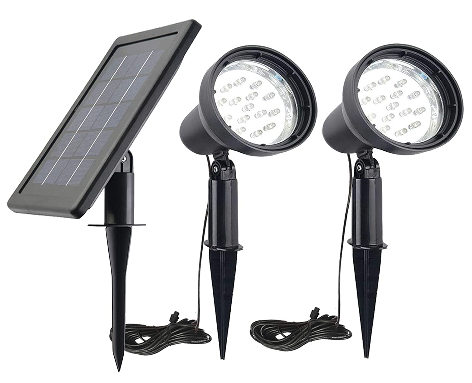 White Solar Spotlight Outdoor 2 in 1 Flag Pole Light IP65 3 Power Modes Solar Spot Light for Patio Tree Pathway Driveways-Automatically Activates from Dusk to Dawn