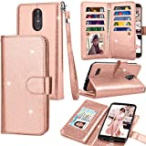 Tekcoo for LG Stylo 3 Wallet Case/LG Stylo 3 Plus PU Leather Case, Luxury Shiny Bling Credit Card Slots Holder Carrying Folio Flip Cover [Detachable Magnetic Case] Kickstand – Rose Gold