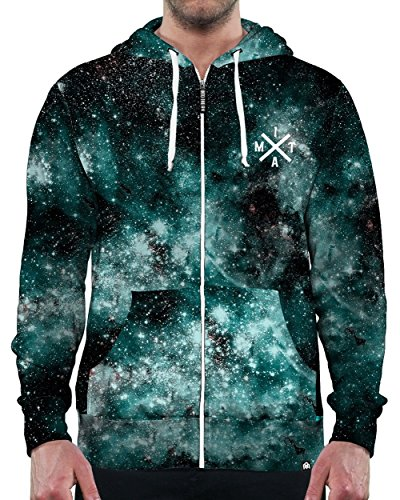 Cheap INTO THE AM Electric Nights Collection All Over Galaxy Print Zip Up Hoodie Sweatshirts