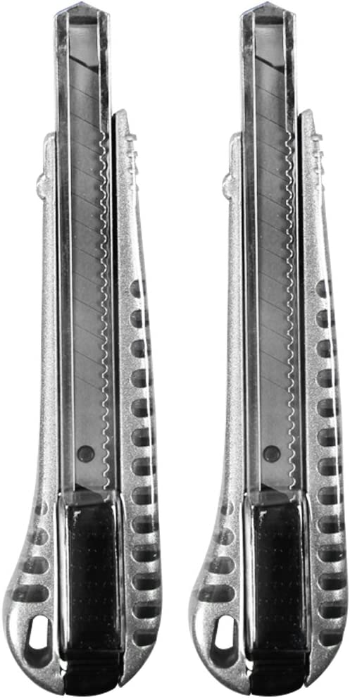14cm mit Aluminiumgriff - 02 St/ück Teppichmesser mit Aluminium-Griff com-four/® 2X 9 mm Cuttermesser