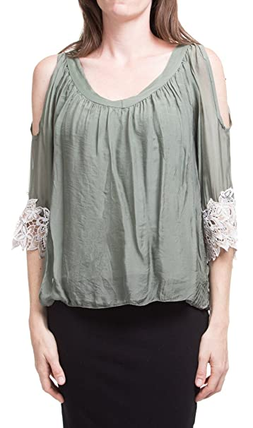 Amazon.com: Fabricado en Italia. fría hombro bordado blusa ...