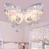 Lilamins Butterfly Crystal Girls Children Light Creative Led Lights For Living Room,Bathroom,Bedroom,And Dining Room Led Ceiling Lights, Remote Control Color Butterfly Crystal Lamp 60Cm