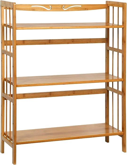 C&AHOME 3-Tier Bookshelf,Storage Shelf Bamboo Wood, Max Load 35LBS Per Shelf, Plant Flower Stand, Free-Standing Utility Shelf Unit, Display Rack for Living Room Bathroom Kitchen Home Office Natural