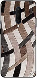 For OnePlus 7T Pro Case Cover Brown & Black Curve Strips Pattern