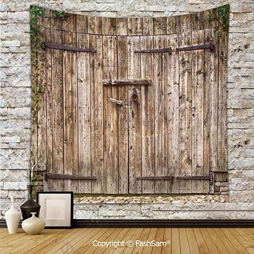FashSam Tapestry Wall Blanket Wall Decor Old Oak Closed Garage Door with Steel Hinges Vintage Typical Cottage Doorway Image Home Decorations for Bedroom(W39xL59) ()