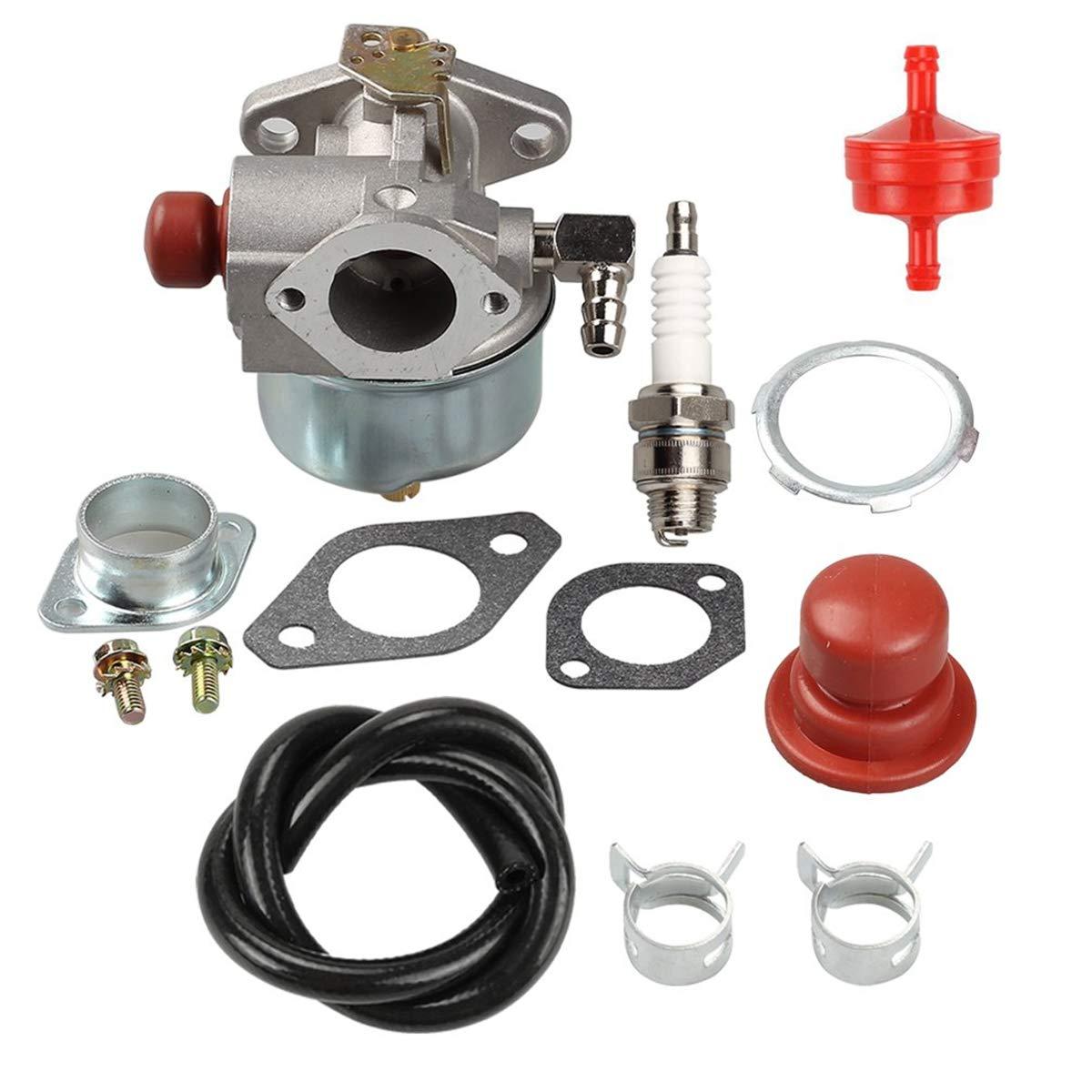 Notos 632795A Carburetor Carb Kit + Fuel Filter + Spark Plug Fit for Tecumseh 632046A 632078A 632099 TVS90 TVS105 TVS115 TVS120 TVS75 TVS100 ECV100 Engine 4.5HP 5HP Craftsman Eager 1 Lawnmower
