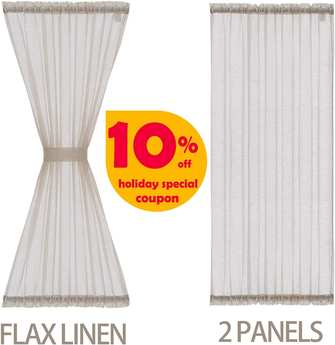 """Sheer French Door Curtain Panels 72"""" Long Flax Linen Double Window Draperies for Front Sliding Glass Door 2 Pack Natural 52"""" Wide"""