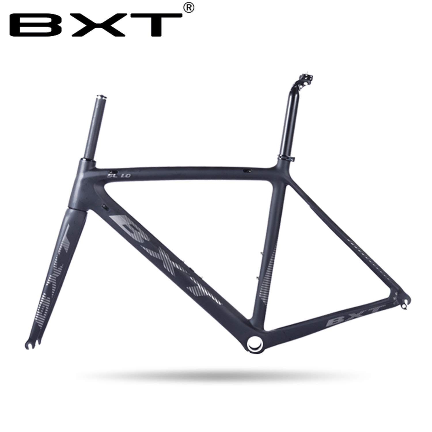 BXT 2019 New T800 Carbon Road Bike Frame Cycling Bicycle frameset Super Light 980g Di2/mechanical Racing Carbon Road Frame (Grey Logo Glossy, 500mm)