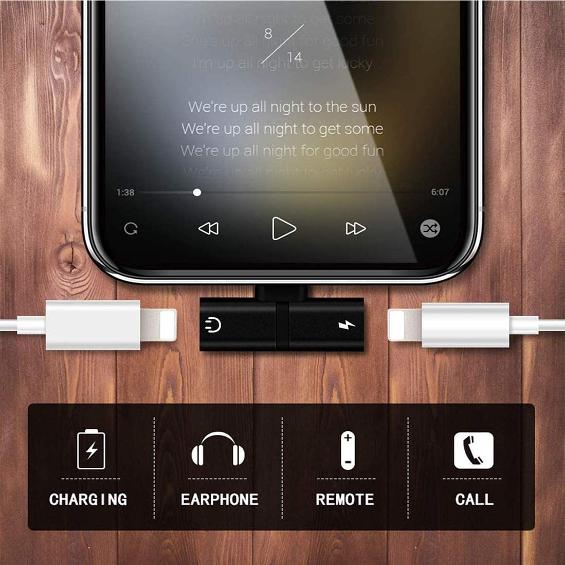 Headphone Jack Adapter Earphone for Phone 11 Dual Adapter Splitter Charger and Headphones Dongle Compatible with Phone 11Pro max//XR//XS//X//7//8 Plus Aux Audio /& Call Support All iOS-Black