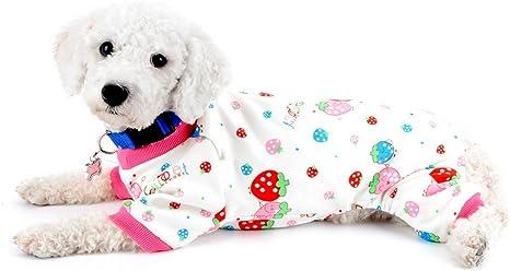 SMALLLEE_LUCKY_STORE Strawberry Print Pijamas de Perro Ropa de Perro para Perros pequeños Pijamas de Perro Mono de Perro Atuendo de Gato Pijama ...