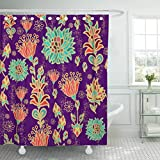 Emvency Fabric Shower Curtain with Hooks Moroccan Floral Pattern African Italian Abstract Arabesque Arabian Arabic Brasil 60''X72'' Decorative Bathroom Treated to Resist Deterioration by Mildew