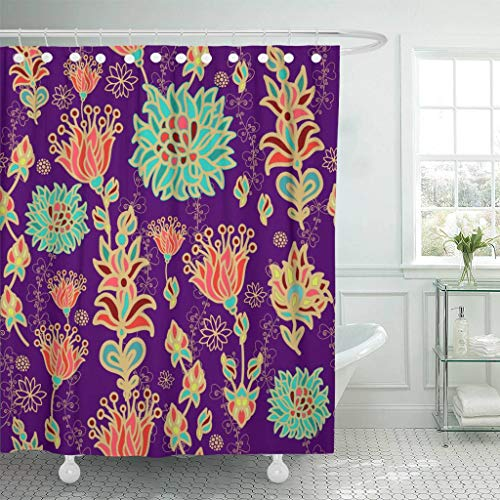 Emvency Fabric Shower Curtain with Hooks Moroccan Floral Pattern African Italian Abstract Arabesque Arabian Arabic Brasil 60''X72'' Decorative Bathroom Treated to Resist Deterioration by Mildew by Emvency