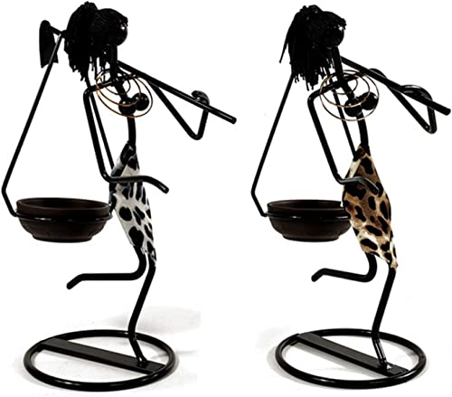 TBoxBo 2 Pcs Vintage Matte Black Iron Candlestick Holders Metal People Model Candle Holders Creative Candle Holder Iron Kitchen Restaurant Romantic Party Candlestick Home Decorate