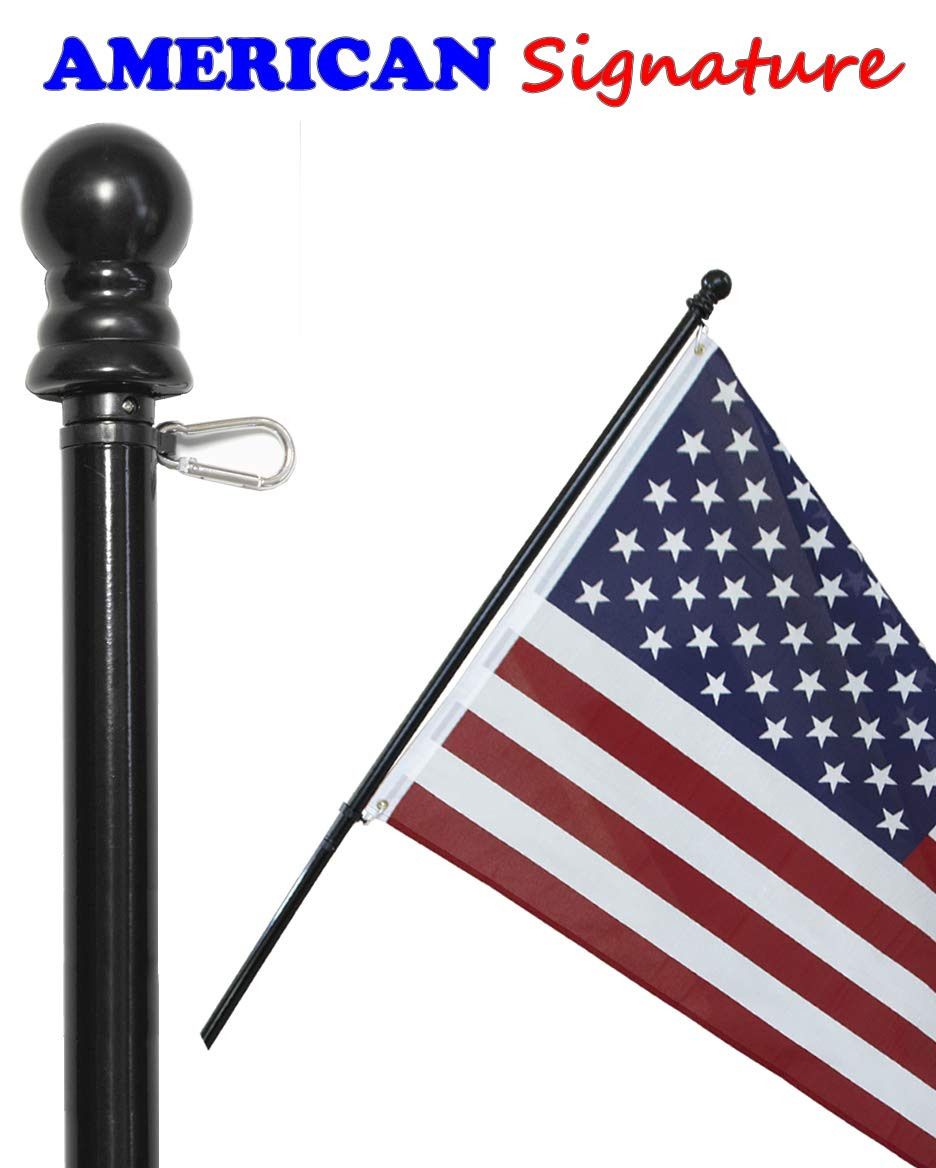 American Signature Flag Pole 6 ft - Heavy Duty Aluminum Tangle Free Spinning Flagpole with Carabiners - 2019 New Enhanced Design - Outdoor Wall Mount Flagpole for Residential or Commercial (Black, 6) by American Signature (Image #2)