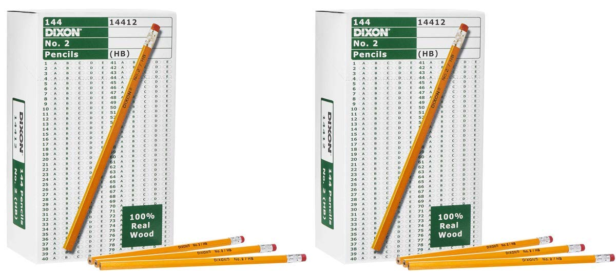 Dixon IUYEHDUH Wood-Cased Graphite Pencils, 2 HB Soft, Yellow, 144 Count 2 Pack by Dixon (Image #1)