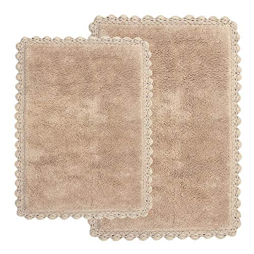 Crochet 2-Piece Bath Rug Set, 21 by 34-Inch and 17 by 24-Inch, Linen