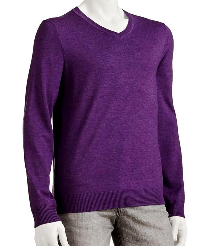 Liz Claiborne Apt 9 Merino Wool Blend Sweater V-Neck Solid Purple on sale