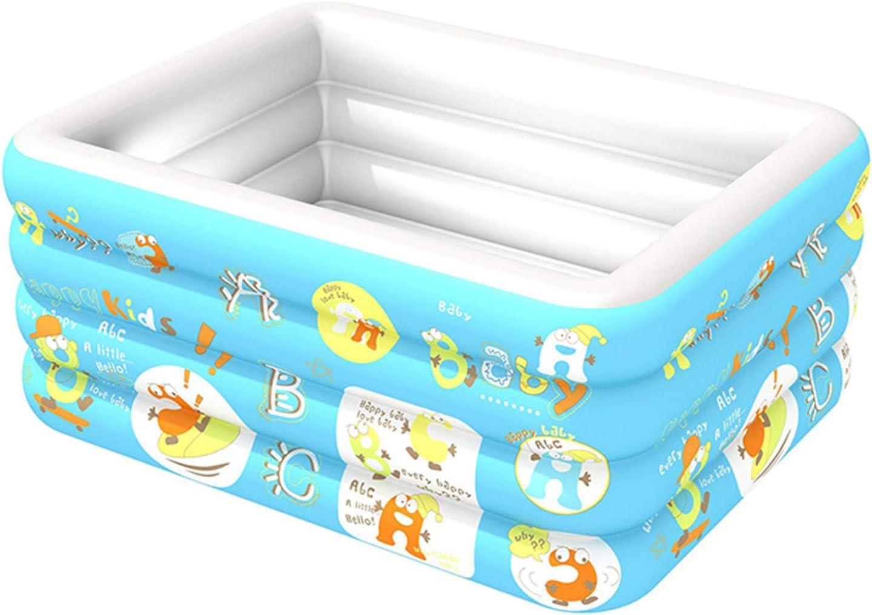 hhh Portátil 4 Capas Familia Inflable Piscina,Antideslizante Adultos Niños Piscina Tina De Baño Exterior Interior Piscina Agua Bañera-Azul 120cm