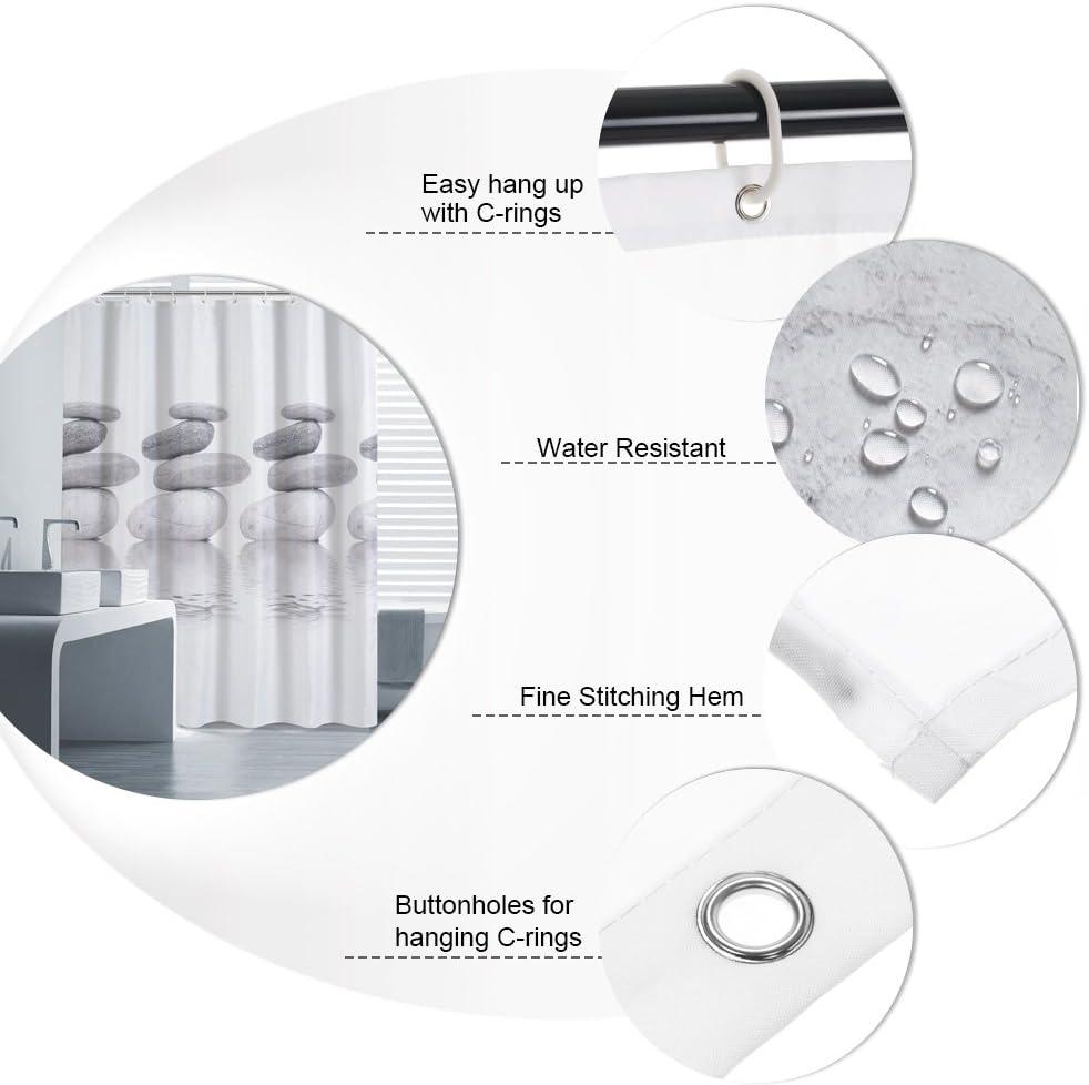 Htovila Tenda da doccia decorativa antibatterica per casa e hotel impermeabile antimuffa 100/% poliestere 180 x 180 cm Aquatic Grey garantisce protezione e privacy con 12 ganci