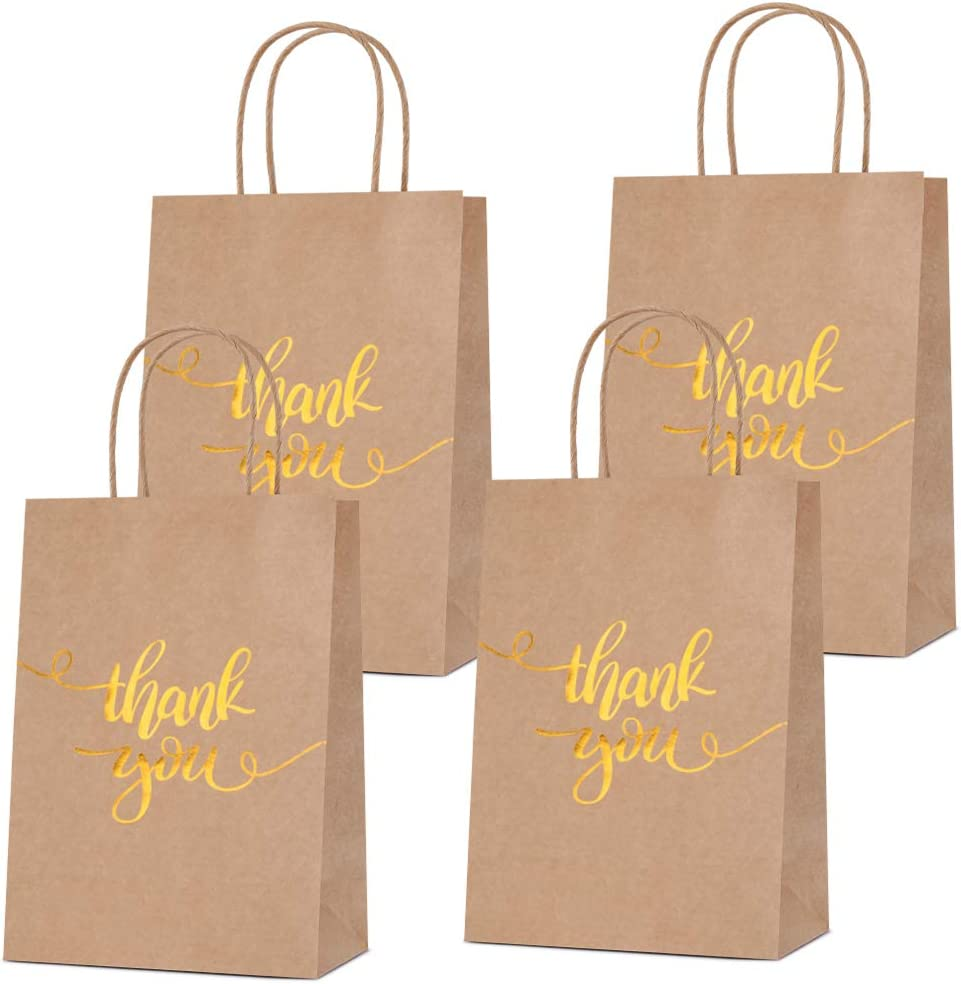 Bronzing Paper Bags Rose Gold Thank You Bride Wedding Bags Hen Party Kraft Birthday Bag with Handle for Celebrations Parties Decoration- 30 PCS