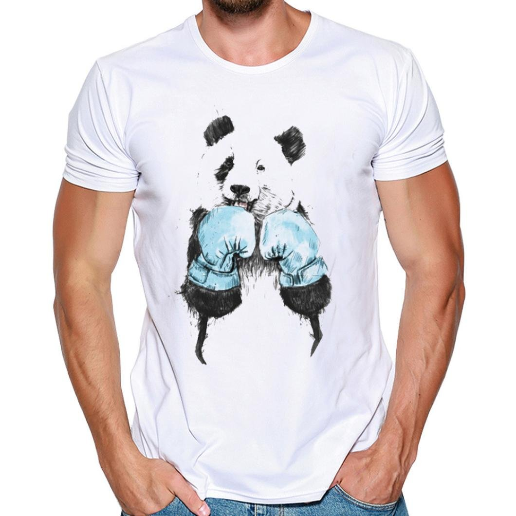 SmrBeauty® T-Shirt Uomo Camicetta Uomo Maglietta Uomo, Maglietta a Maniche Corte Kung Fu Panda personalità Muscolo Sottile Traspirante Assorbimento del Sudore Top (L, Bianco) LML_621