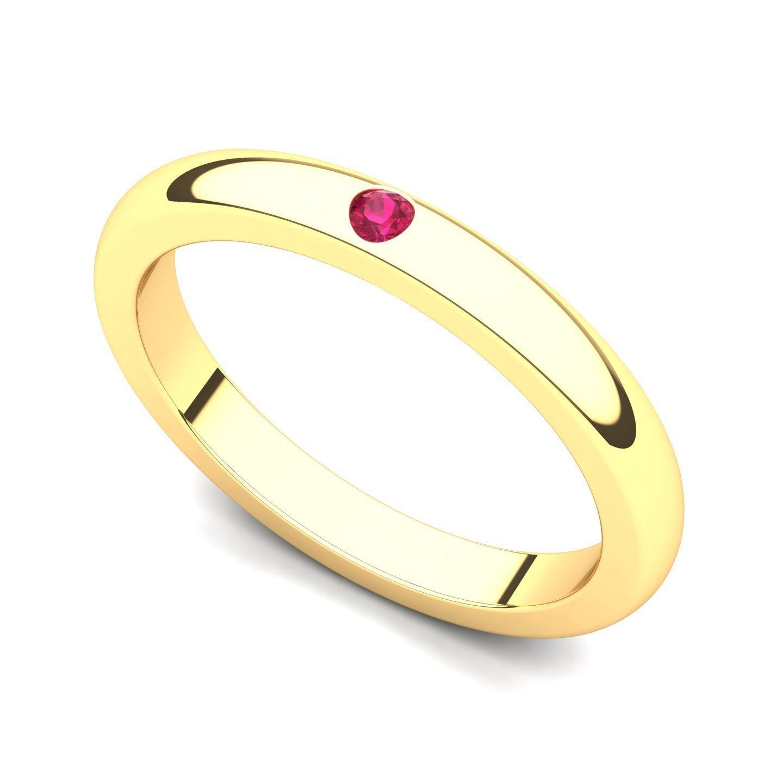 18k Yellow Gold Bezel set Ruby Band Ring, 8