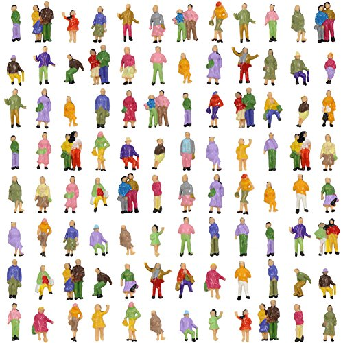 Evemodel P150W 100pcs Model Trains 1:150 Scale Painted Figures N (Model People Figures)