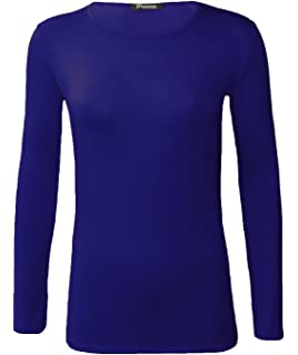 0f4b20a08 ZEE FASHION New Ladies Plain Stretch Fit Long Sleeve Womens T-Shirt Round  Neck Basic Top…